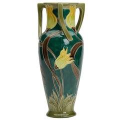 Art Nouveau Burmantofts Faience Handled Tulip Vase
