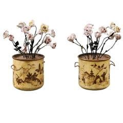 Pair of French Tole and Porcelain Flower Planters, 19th Century