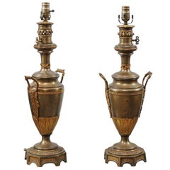 Pair of Neoclassical Style French Gilt Metal Urn Lamps, circa 1880