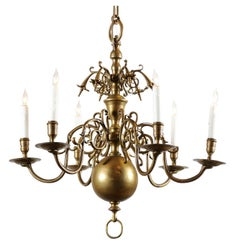 Small Dutch Brass Chandelier with Six Lights, Early 19th Century