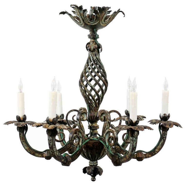 French Iron Painted Chandelier with Scroll Detail and Six Lights, circa 1890