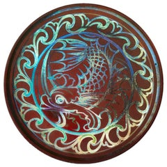 Joseph Walmsley Burmantofts Faience Ruby Lustre Fish Plaque
