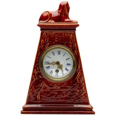 Burmantofts Faience Mantle Clock with Sphinx