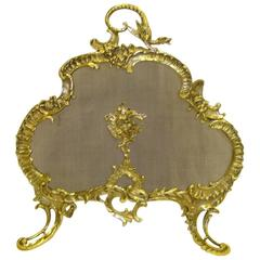 19th Century French Brass Fire Screen in the Rococo Style