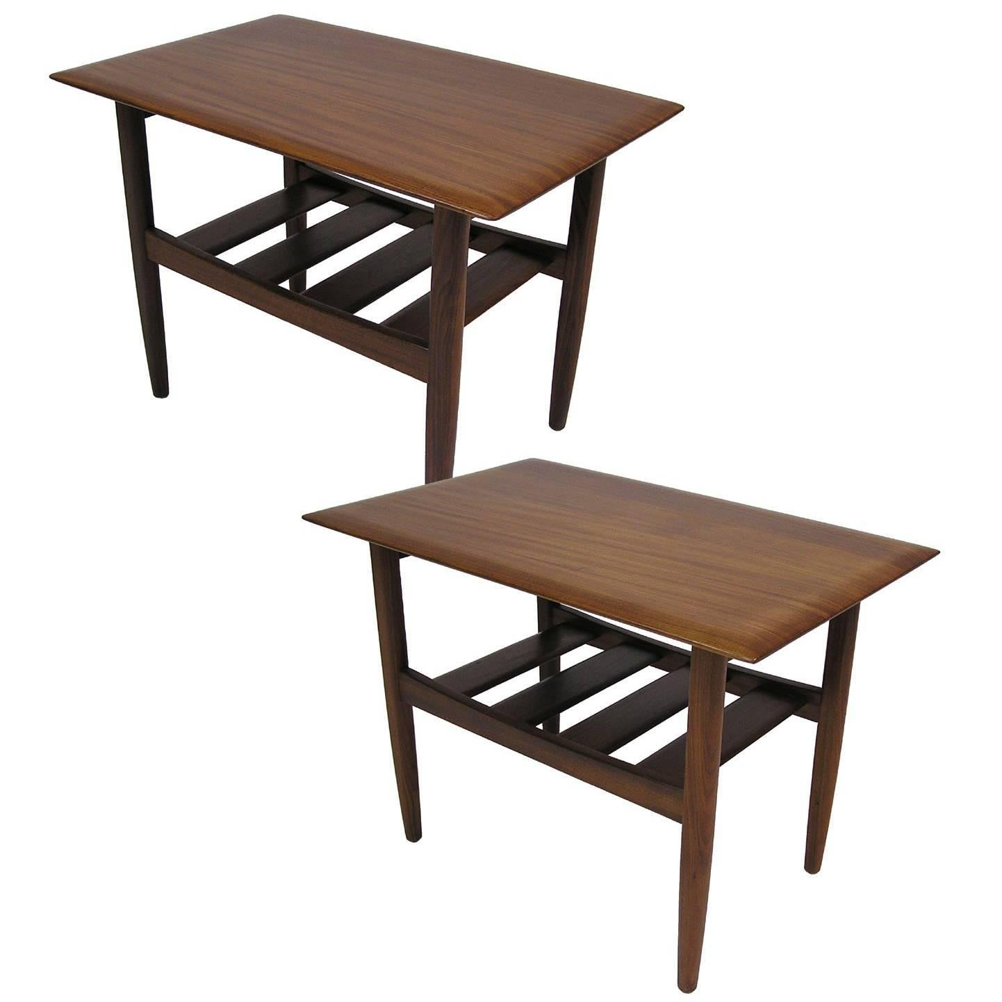 1960s solid teak midcentury modern side tables by jan kuypers pair 1