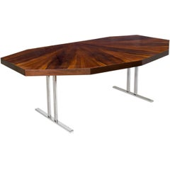 Scandinavian Modern Rosewood Dining Table with Nine Angled Sides on Chrome Legs