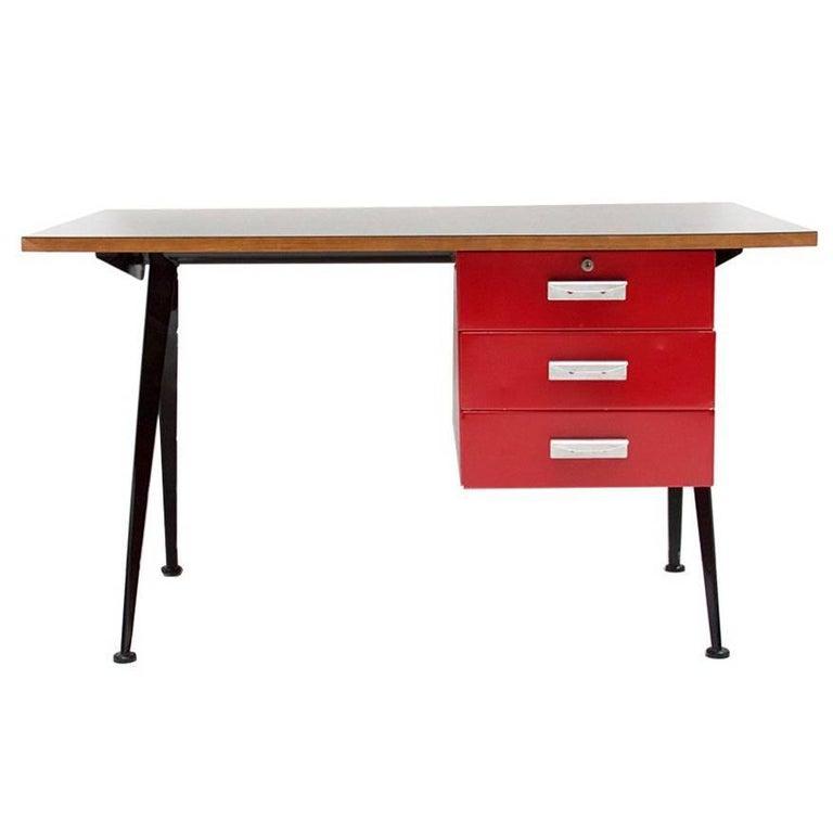 """Office Desk """"Compas"""" Designed by Jean Prouve, circa 1950, France"""