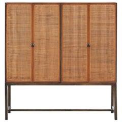 Impressive Modern Directional / Calvin Furniture Cane Cabinet or Wardrobe