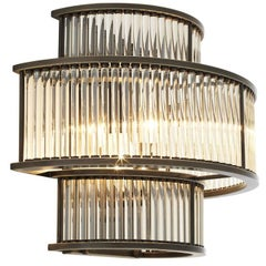 Glass Stairs Wall Lamp in Bronze Highlight Finish or in Nickel Finish