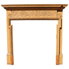 Late 19th Century Stripped Carved Pine Fire Surround