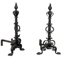 Late 19th-Early 20th Century Continental Iron Andirons with Flame Finials