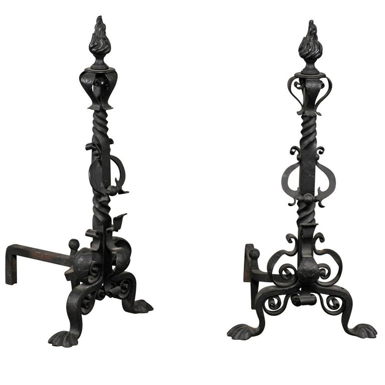 Late 19th-Early 20th Century Black Continental Andirons