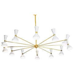 Twelve Arms Natural Patina Brass Chandelier, Ivory Pivoting Heads, Twin Bulbs