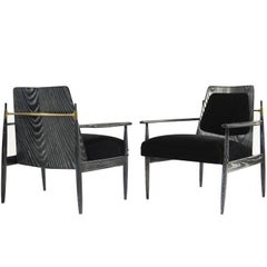 Pair of Scandinavian Modern Armchairs in Black Ceruse