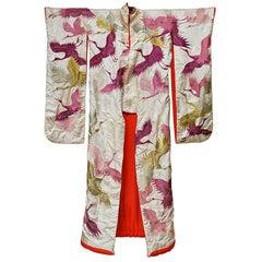 Japanese Embroidered Silk Wedding Kimono with Plum Cranes and Chrysanthemums
