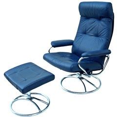 Ekornes Norwegian Blue Leather Lounge Chair and Ottoman