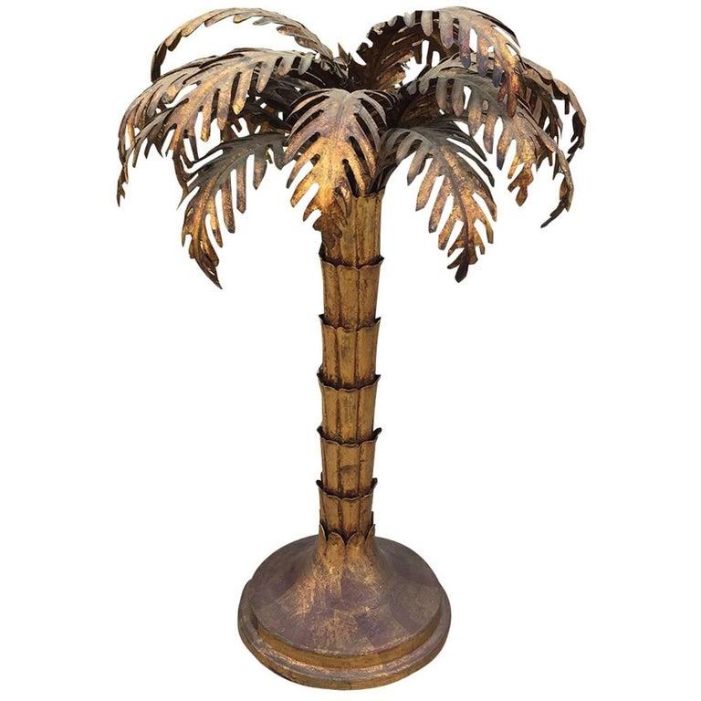 Italian Gilt Metal Palm Tree Lamp in the Style of Jansen, circa 1970s