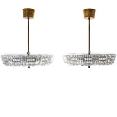Orrefors Triton, Pair of Crystal Hanging Lights by Lyfa/Orrefors in the 1960s