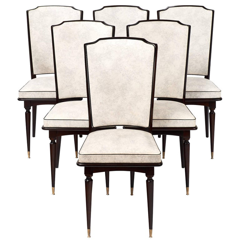 Set of Mahogany French Vintage Dining Chairs For Sale