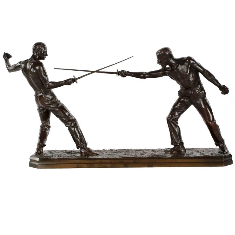 """Un Duel"" Bronze Sculpture of Two Fencers by Nicolas Mayer"