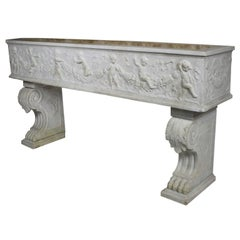 French 19th Century, Whimsical Rococo Style Marble Carved Planter with Cherubs