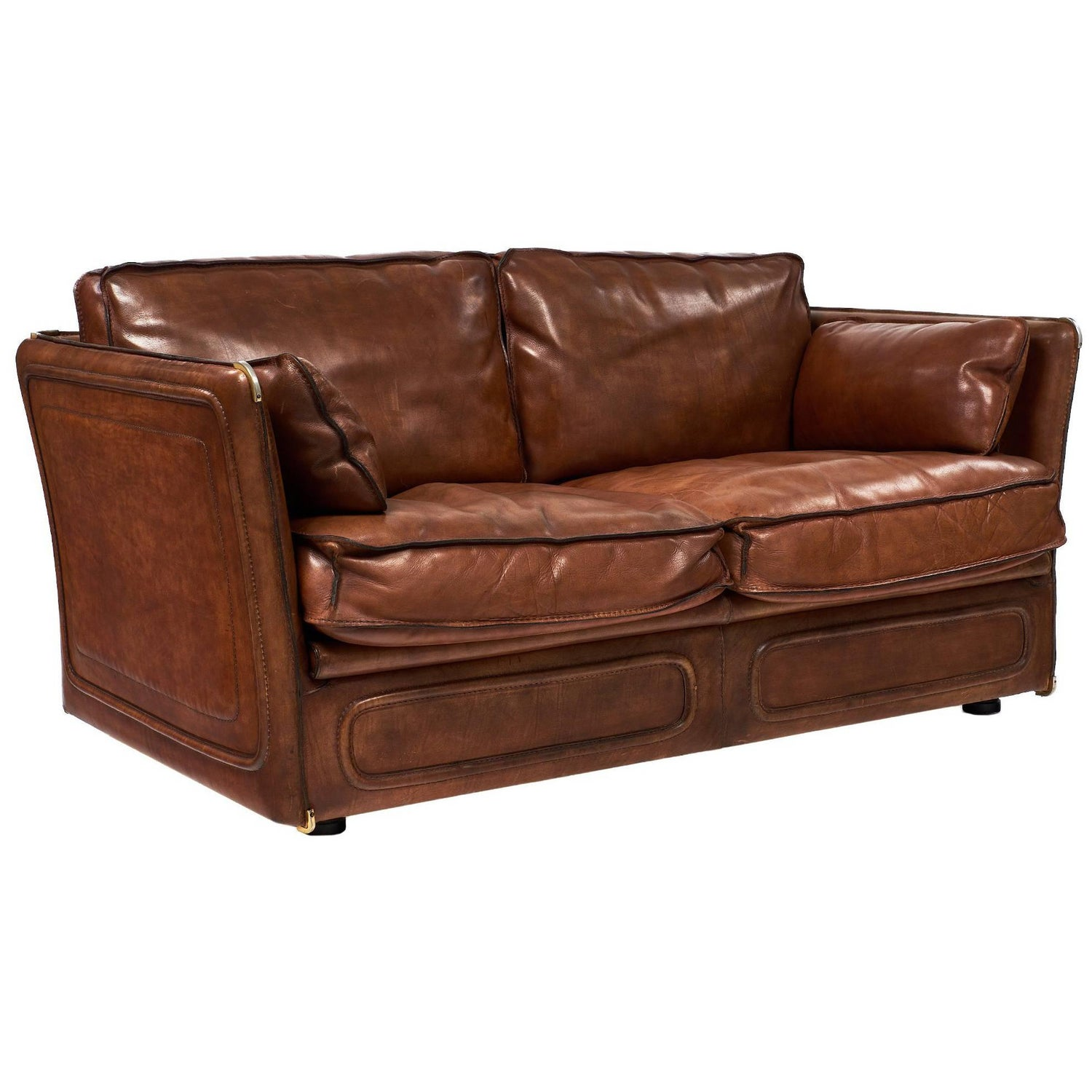 Hermes Style Buffalo Leather French Loveseat For Sale at 1stdibs