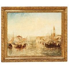 Vintage Italian Oil Painting of Venice