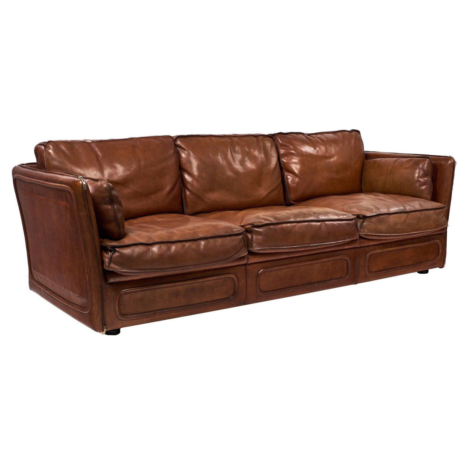 French Buffalo Leather Equestrian Style Sofa For Sale at 1stdibs