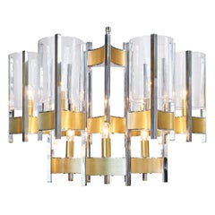 French Modernist Structural Chrome and Brass Chandelier