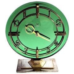 Art Deco English Smiths Green Mirrored Clock