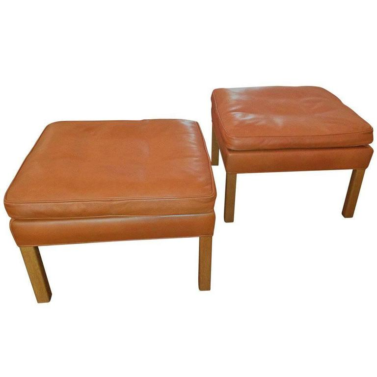 Pair of Leather Ottomans by Børge Mogensen