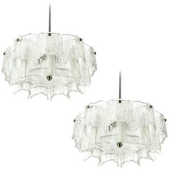 Kalmar Chandeliers, Glass Nickel, 1960, Set of Three Lights