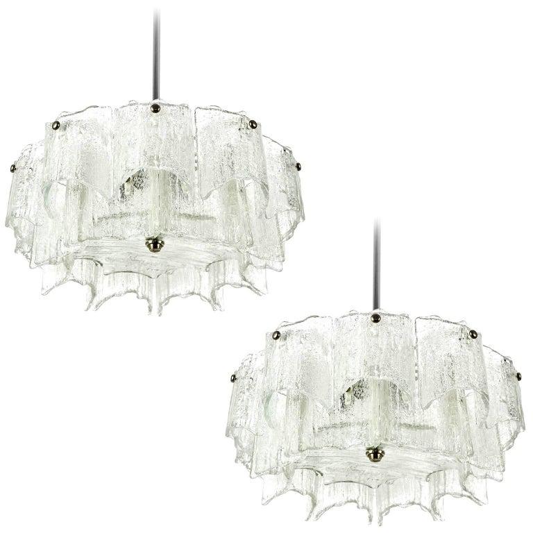 Kalmar Chandeliers, Glass Nickel, 1960, Set of Three Lights