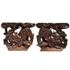 Pair Antique Carved Foo Dog Wood Blocks