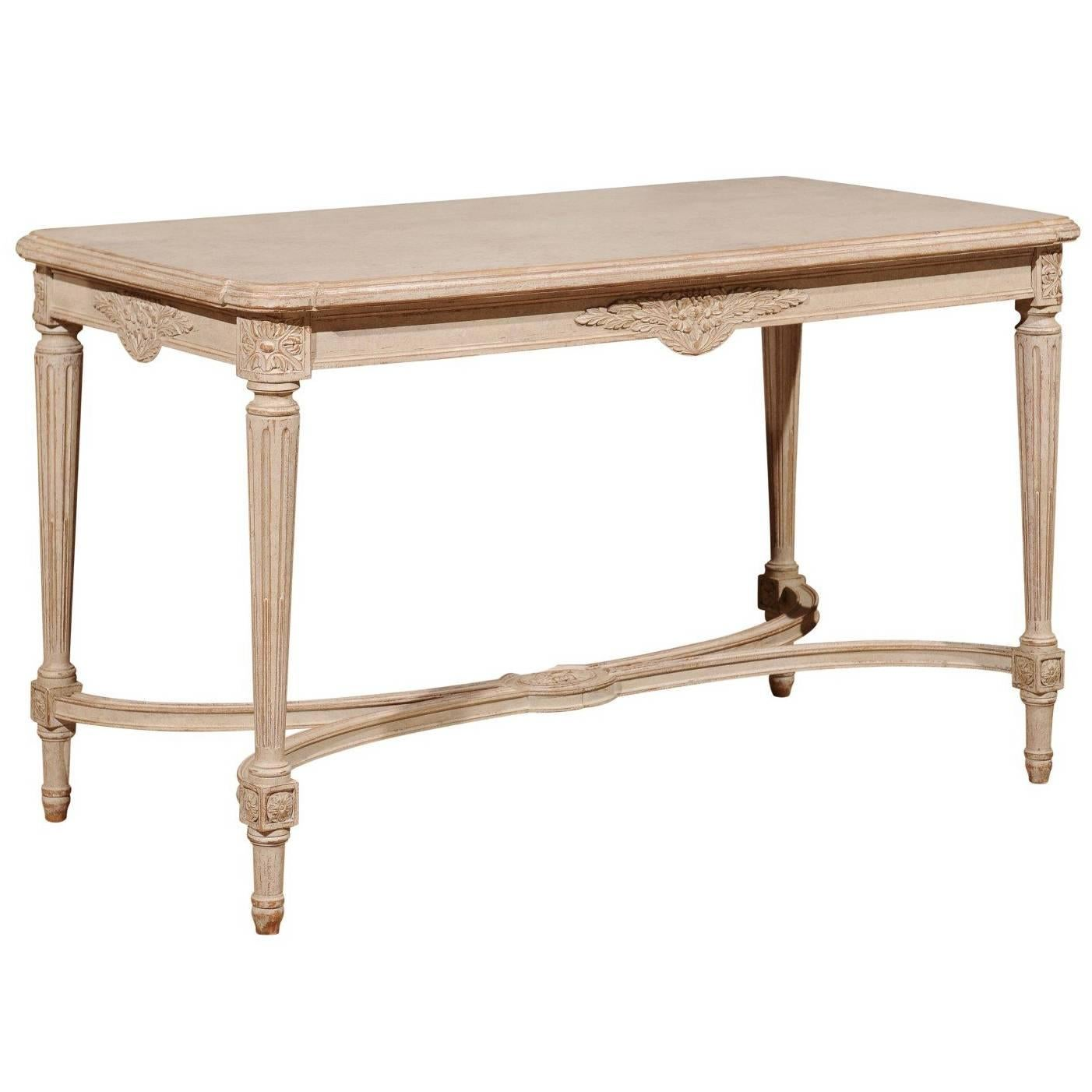 Swedish Gustavian Style Painted Wood Coffee Table With Fluted Legs, Circa  1920 For Sale