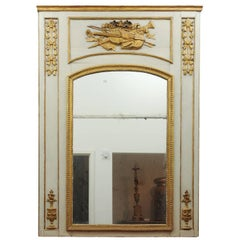 18th Century French Louis XVI Trumeau Mirror with Giltwood Musical Instruments