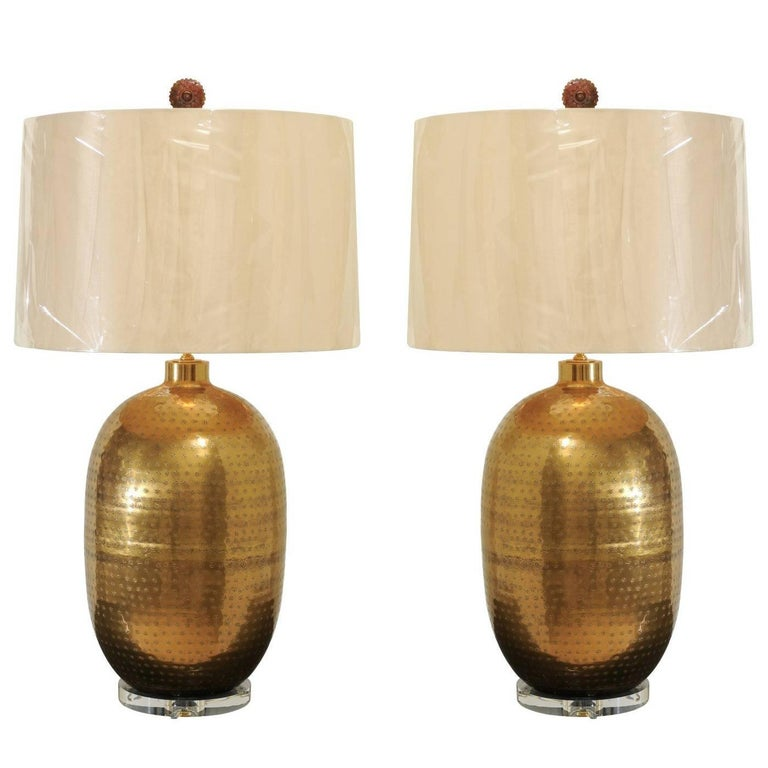 Dramatic Pair of Large-Scale Textured Brass Lamps, circa 1970 For Sale