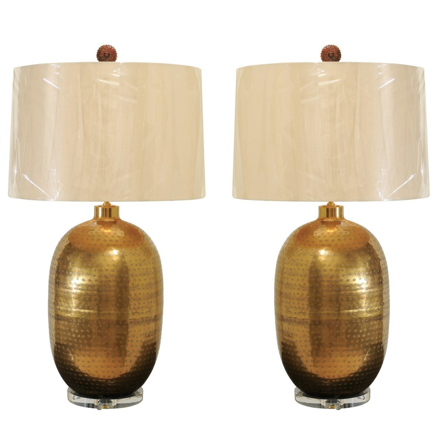 Dramatic Pair of Large-Scale Textured Brass Lamps, circa 1970