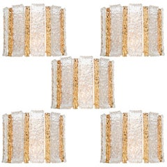 Set of 5 J.T. Kalmar Drum Wall Sconces Gold Plated & Ice Glass, Austria