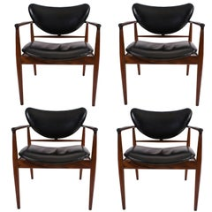Finn Juhl Set of Four FJ-48 Chairs in Teak for Baker