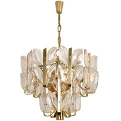 "Kalmar Chandelier or Pedant Light ""Florida, Glass and Brass, 1970"