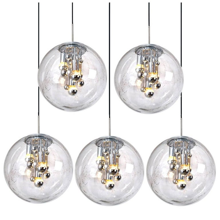 Set of Five Large HandBlown Bubble Glass Pendant Lights from Doria, 1970s