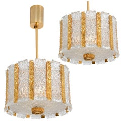 Pair of J.T. Kalmar Gold Plated Bronze Drum Chandeliers, 1960s, Austria