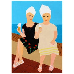 'Girls on Top' Portrait Painting by Alan Fears Acrylic on Paper Seaside
