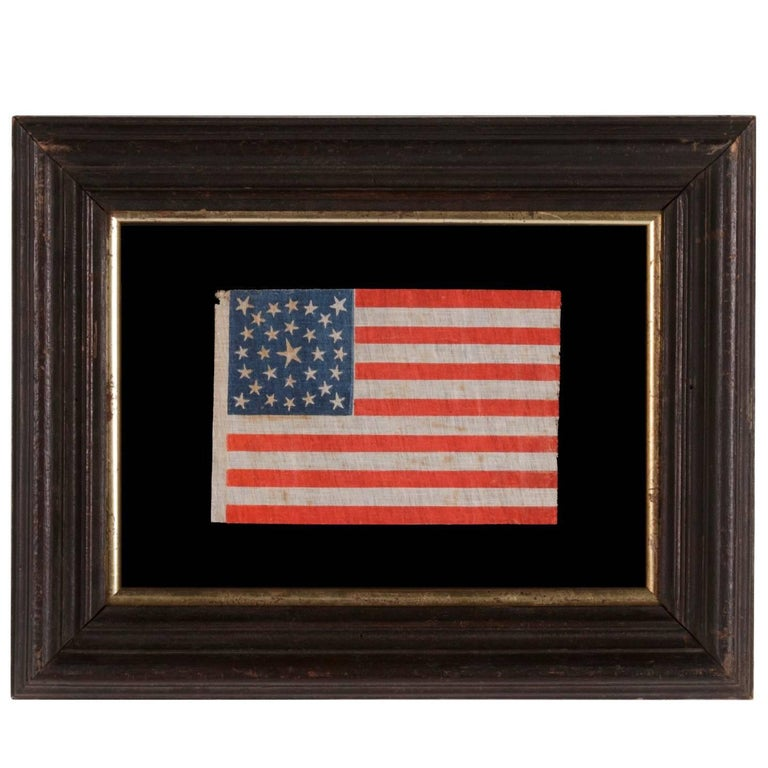 Antique American Flag with 29 Whimsical Stars in a Medallion Configuration