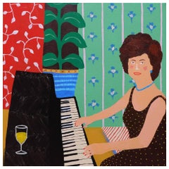 'Tipple and a Tinkle' Portrait Painting by Alan Fears Lady Piano Player