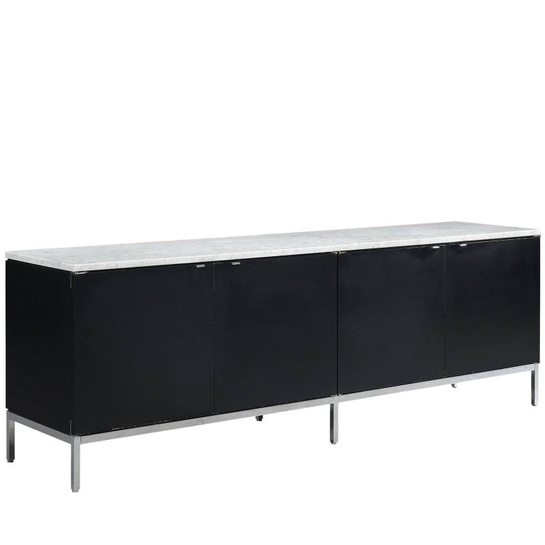 Florence Knoll Large Credenza in Black Wood and Marble