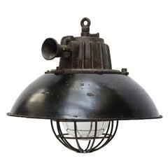 Black Enamel Industrial Lamp Cast Iron Clear Glass
