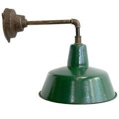 Industrial Wall Light Green Enamel Shade Cast Iron Arm (7x)