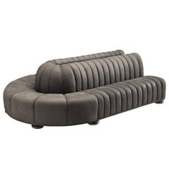 Custom-Made Luxurious Wittmann Sofa in Anthracite Leather